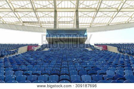 Porto, Portugal - April 2018: Blue Tribunes Of Estadio Do Dragao Arena