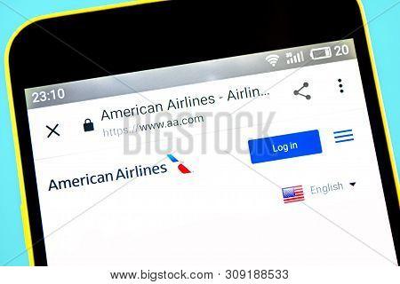 Berdyansk, Ukraine - 24 May 2019: American Airlines Group Website Homepage. American Airlines Group