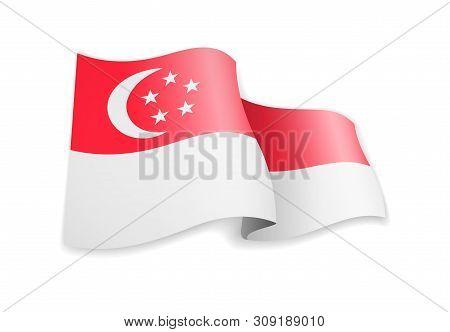 Singapore Flag In The Wind. Flag On White Vector Illustration