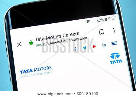 Berdyansk, Ukraine - 30 May 2019: Tata Motors Website Homepage. Tata Motors Logo Visible On The Phon