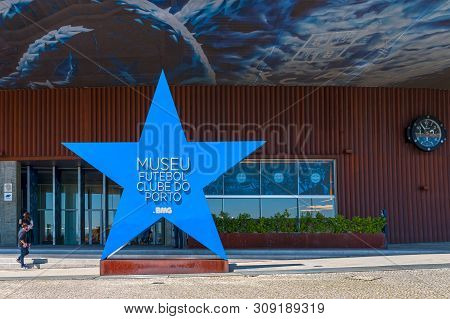 Porto, Portugal - April 2018: Entrance To The Museum At Estadio Do Dragao Arena