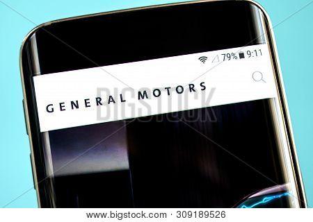 Berdyansk, Ukraine - 30 May 2019: General Motors Website Homepage. General Motors Logo Visible On Th