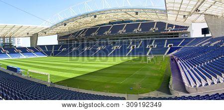 Porto, Portugal - April 2018: Overview On Estadio Do Dragao - The Official Stadium Of Fc Porto