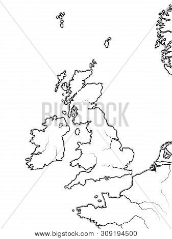 Map of The ENGLISH Lands: The Great Britain (The United Kingdom) -- England, Scotland, Wales, And Ireland. British Isles, North Sea, English Channel. Geographic chart with sea coastline and islands. poster