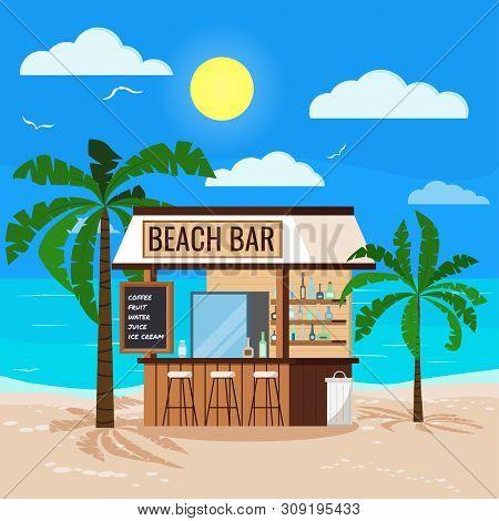 Panoramic Tropical Seascape With Ocean, Sun, Wooden Beach Bar, Palms Tree, Chair, Trashcan. Summer R