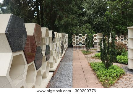 Urns With Ashes In A Columbarium Wall, Outside A Crematorium