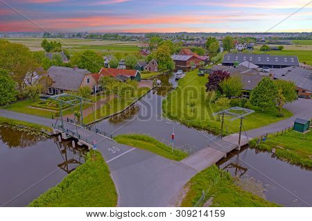 Aerial from the village Zevenhuizen in the countryside from the Netherlands