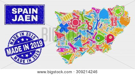 Mosaic Tools Jaen Spanish Province Map And Made In 2019 Seal Stamp. Jaen Spanish Province Map Collag