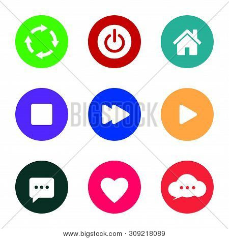Icon Pack. Refresh Icon, Power Button Icon, House Icon, Stop Button Icon, Next Button Icon, Play But