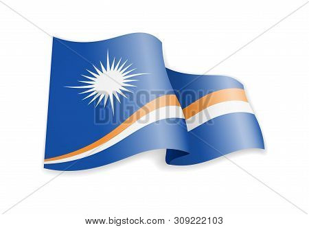 Marshall Islands Flag In The Wind. Flag On White Vector Illustration