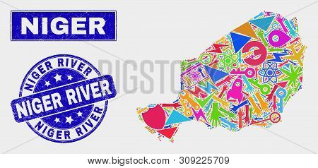 Mosaic Tools Niger Map And Niger River Seal Stamp. Niger Map Collage Composed With Randomized Colorf