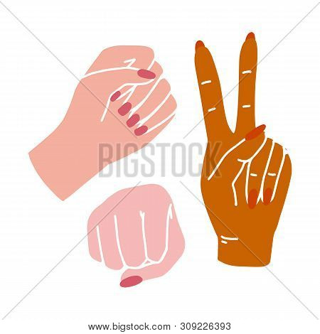 Vector Illustration Fight Like A Girl. Womans Hands With Her Fist Raised Up. Girl Power. Feminism Co