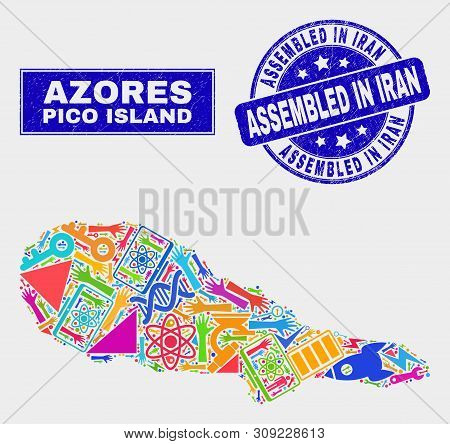 Mosaic Technology Pico Island Map And Assembled In Iran Seal Stamp. Pico Island Map Collage Composed