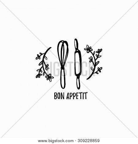 Vector Bakery Label. Graphic Logo For Home Baking. Monochrome Kitchen Attributes Icon In Hand Draw,