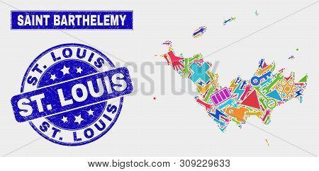 Mosaic Technology Saint Barthelemy Map And St. Louis Seal Stamp. Saint Barthelemy Map Collage Compos