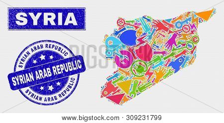 Mosaic Tools Syria Map And Syrian Arab Republic Seal Stamp. Syria Map Collage Formed With Random Col