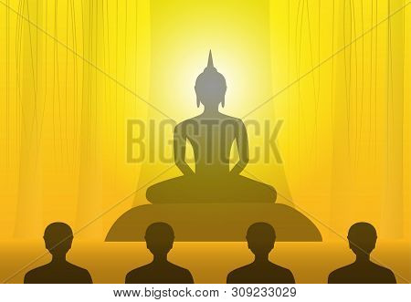Vesak Day With Buddha At Under Tree In Silhouette