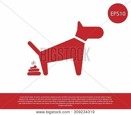 Red Dog Pooping Icon Isolated On White Background. Dog Goes To The Toilet. Dog Defecates. The Concep