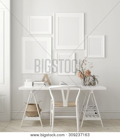 Poster, Wall Mock Up In Home Interior Background, Home Office, Scandinavian Style, 3d Illustration