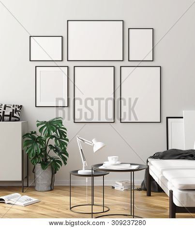 poster of Mock up poster frame in interior background, scandinavian style, 3D illustration