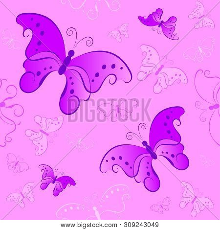 Seamless Pattern With Butterflies On Pink Background
