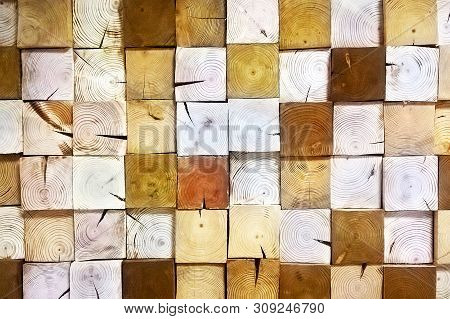 Decoration wooden blocks. Texture of wooden blocks in collage background. Paneling pattern background. Design ecological wall. poster