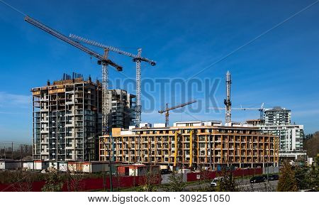New Construction Of High-rise Buildings In Burnaby City, Industrial Construction Site, Construction