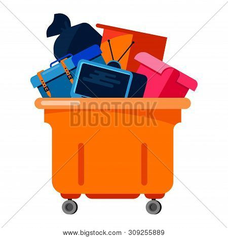 Trashcan Vector Bin Recycle Electronic Waste Garbage Illustration. Rubbish Container Electronic Hous