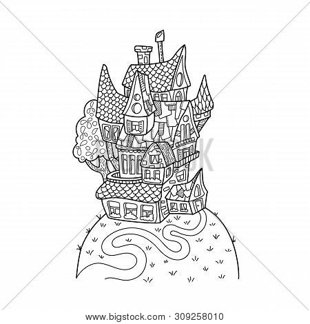 Cute House On Hill Black And White Vector Illustration For Adult Coloring. Retro Style Architecture.