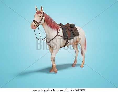 White Horse With Bridle With Red Mane And Tail 3d Render On Blue Background With Shadow