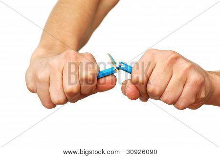 Hands Breaking Pencil