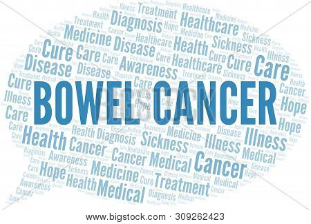 Bowel Cancer Word Cloud. Vector Made With Text Only.
