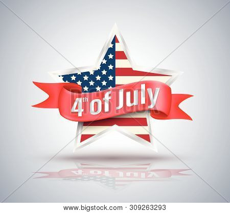 4th Of July Red Ribbon With Usa Star. Vector  Illustration.