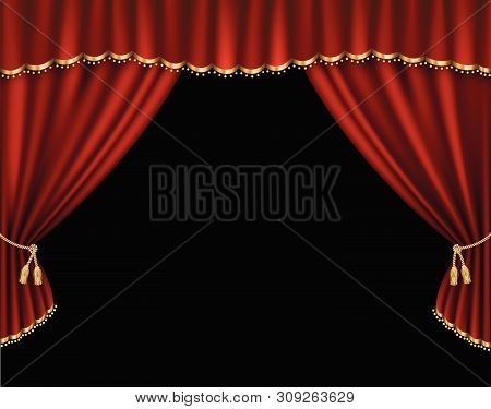 Red Curtain Vector Realistic Illustration For Promotion Poster