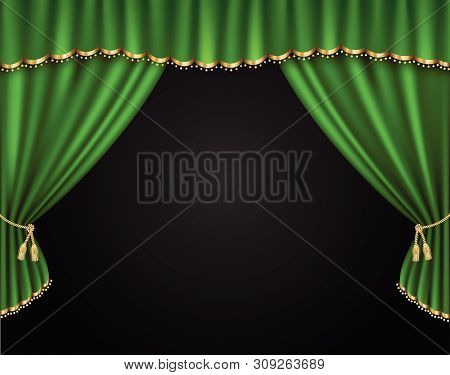 Green Curtain Vector Realistic Illustration For Promotion Poster