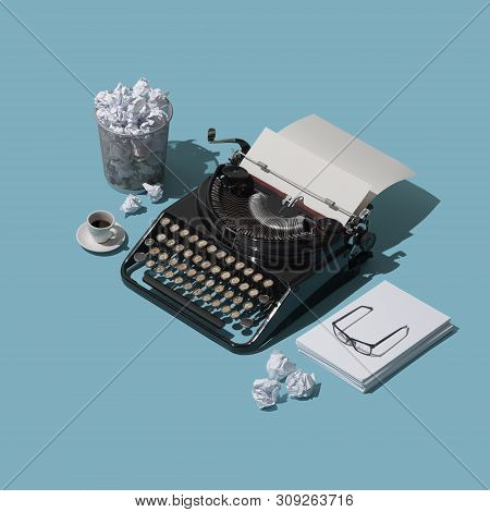 Fear Or The Blank Page And Lack Of Inspiration: Vintage Typewriter With Blank Sheet And Lots Of Crum