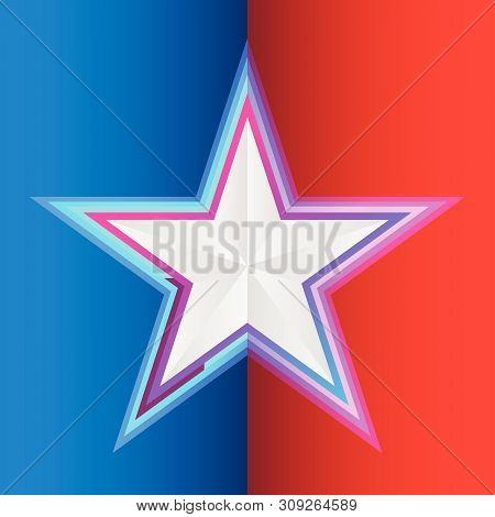 Star On Blue Red Background Vector Illustration For Flight