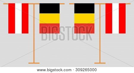 Austria And Belgium. The Austrian And  Belgian Vertical Flags. Official Colors. Correct Proportion.