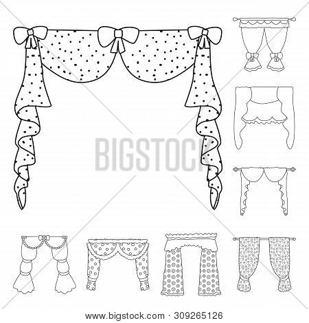 Isolated Object Of Fabric And Decoration Icon. Collection Of Fabric And Cornice Vector Icon For Stoc