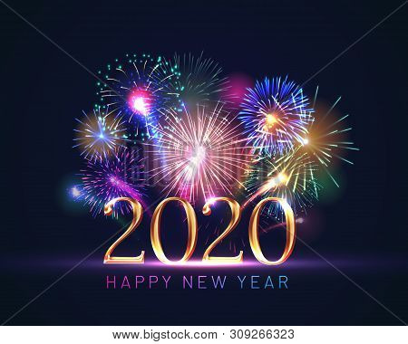 Happy New Year Greeting Card With 2020 Golden Numbers And Fireworks Series. Celebratory Template Wit