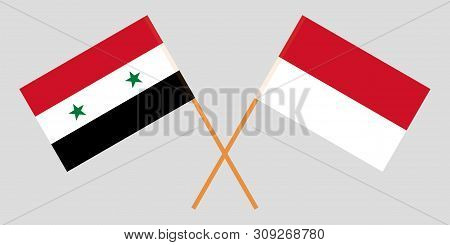 Indonesia And Syria. The Indonesian And Syrian Flags. Official Colors. Correct Proportion. Vector Il