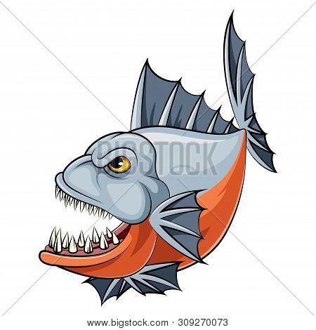Illustration Of A Cartoon Angry Piranha Fish