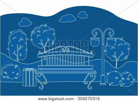 City Park With Trees Bench, Lantern And Walkway. Line Art