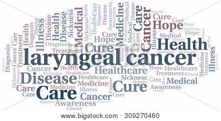 Laryngeal Cancer Word Cloud. Vector Made With Text Only.