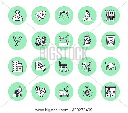 Elderly Care Vector Flat Line Icons. Nursing Home - Old People Activity, Wheelchair, Health Check, H
