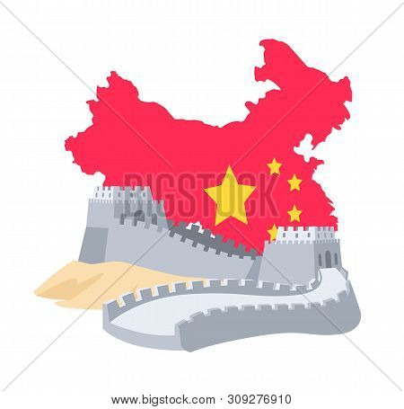 Great Wall Of China And Chinese Map Decorated By National Flag, Historical Landmark, Shape Of State