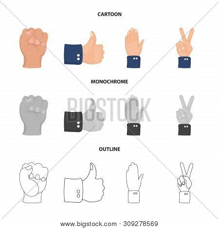 Vector Design Of Animated And Thumb Sign. Set Of Animated And Gesture Stock Symbol For Web.