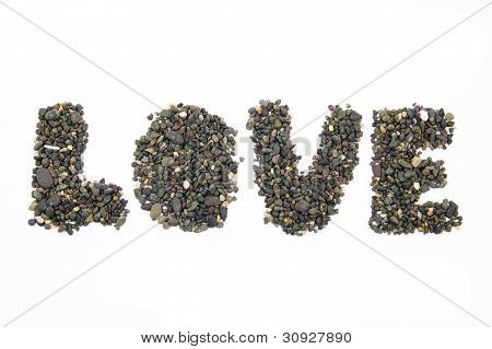 collection of the stones forming the word love