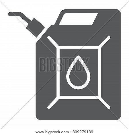 Jerrycan Glyph Icon, Canister And Container, Fuel Tank Sign, Vector Graphics, A Solid Pattern On A W