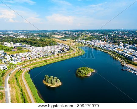 Phoenix See Lake Is An Artificial Lake On The Former Steelworks Phoenix East In Dortmund District Ho
